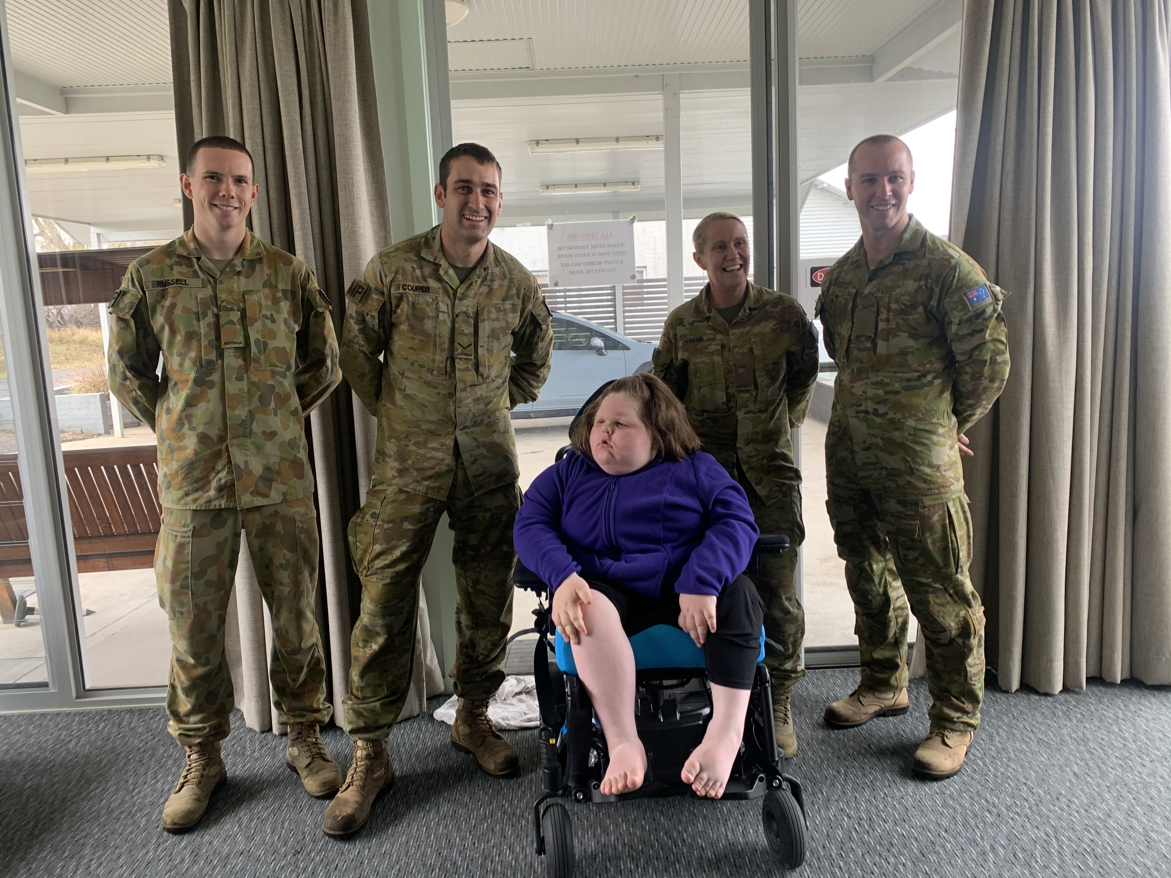 this photo from your left is Isaac, Wayne Erika and Nathan Australian Defence force.